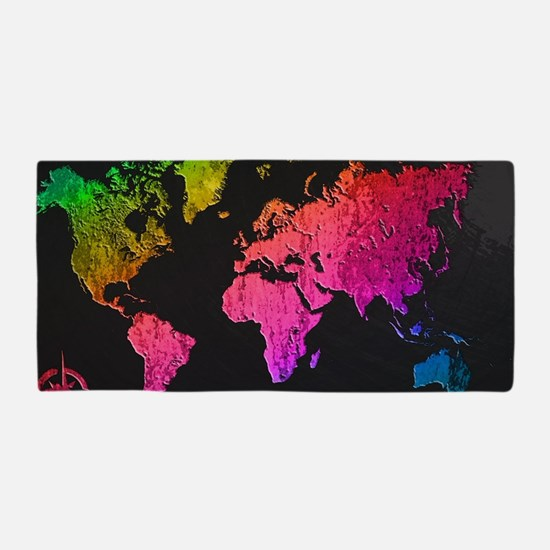 World Map Design Beach Towel