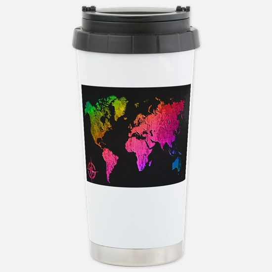 World Map Design Stainless Steel Travel Mug