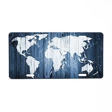 World Map Design Aluminum License Plate