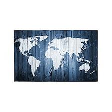 World Map Design Area Rug