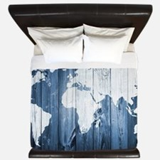 World Map Design King Duvet