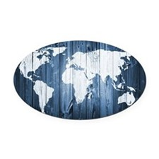 World Map Design Oval Car Magnet