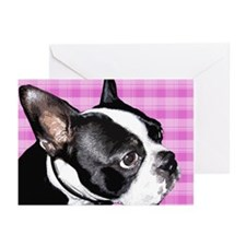 Pink Retro Boston Terrier Greeting Cards (Pk of 2