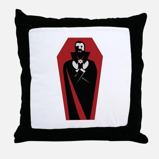 Draculas Coffin Throw Pillow