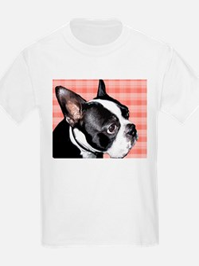 Red Plaid Boston Terrier T-Shirt