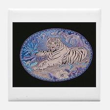 White Tiger - Night Tile Coaster