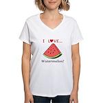 I Love Watermelon Women's V-Neck T-Shirt