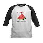 I Love Watermelon Kids Baseball Jersey