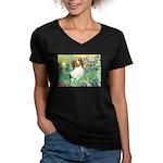 Irises / Papillon Women's V-Neck Dark T-Shirt