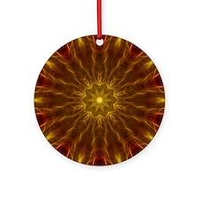 Gold Red Starburst Round Ornament