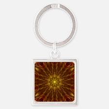 Gold Red Starburst Square Keychain