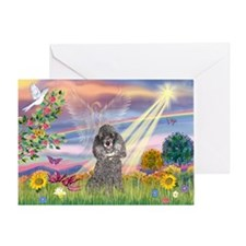 Cloud Angel Silver Poodle Greeting Card