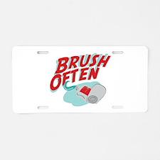 Brush Often Aluminum License Plate