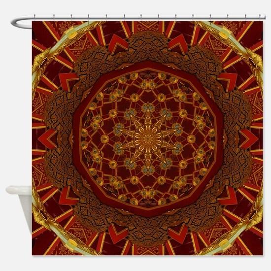 Gold Red Thai Kaleidoscope Shower Curtain