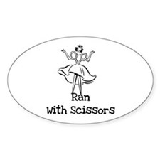 Ran With Scissors Oval Decal
