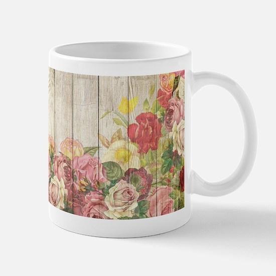 Vintage Rustic Romantic Roses Wood Mugs