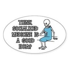 Socialized Medicine Skeleton Oval Decal