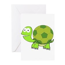 Turtle with Soccer Ball Shell Greeting Cards