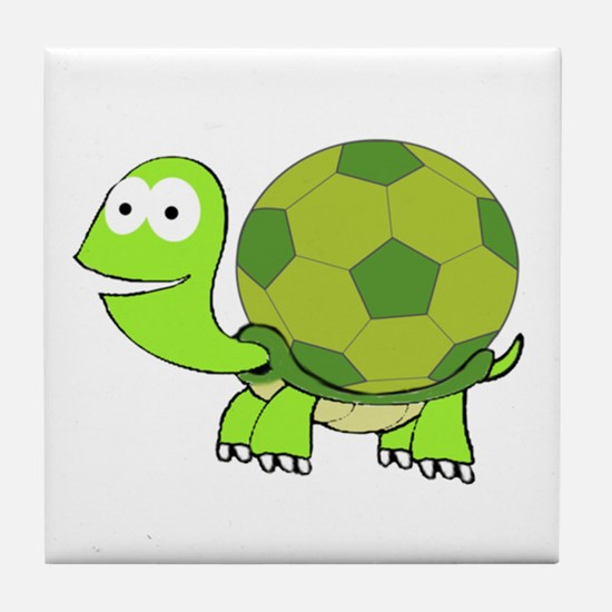 Turtle with Soccer Ball Shell Tile Coaster