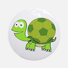 Turtle with Soccer Ball Shell Ornament (Round)