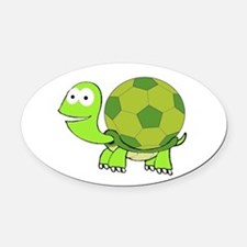 Turtle with Soccer Ball Shell Oval Car Magnet