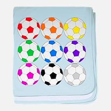 Rainbow of Soccer Balls baby blanket