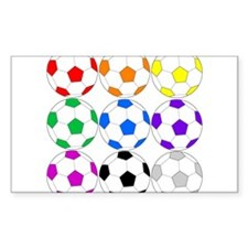 Rainbow of Soccer Balls Decal