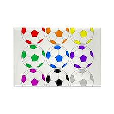 Rainbow of Soccer Balls Magnets