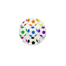 Rainbow of Soccer Balls Mini Button (100 pack)