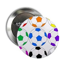 """Rainbow of Soccer Balls 2.25"""" Button (10 pack)"""