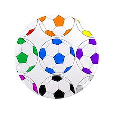 "Rainbow of Soccer Balls 3.5"" Button"