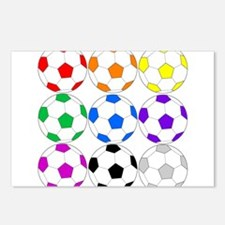 Rainbow of Soccer Balls Postcards (Package of 8)