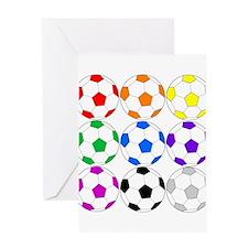Rainbow of Soccer Balls Greeting Cards