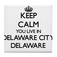 Keep calm you live in Delaware City D Tile Coaster