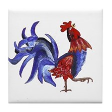BLue rooster Tile Coaster