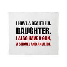 Beautiful Daughter Gun Throw Blanket