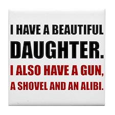 Beautiful Daughter Gun Tile Coaster