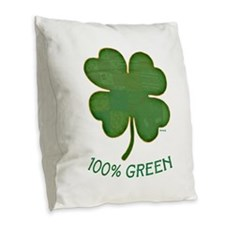 Irish Shamrock - 100% Green Burlap Throw Pillow