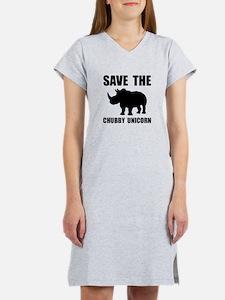 Chubby Unicorn Rhino Women's Nightshirt