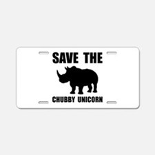 Chubby Unicorn Rhino Aluminum License Plate