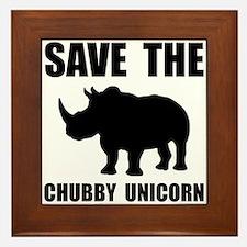 Chubby Unicorn Rhino Framed Tile