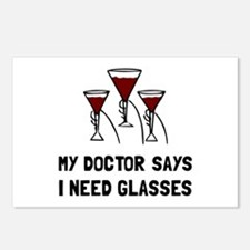 Doctor Says Wine Glasses Postcards (Package of 8)