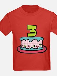 3 Year Old Birthday Cake T