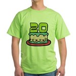 20 Year Old Birthday Cake Green T-Shirt