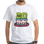 20 Year Old Birthday Cake White T-Shirt