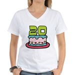 20 Year Old Birthday Cake Women's V-Neck T-Shirt