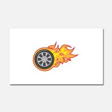 FLAMING TIRE Car Magnet 20 x 12