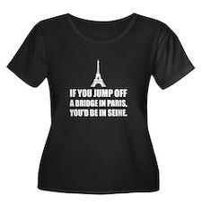 Paris Bridge In Seine Plus Size T-Shirt