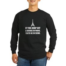 Paris Bridge In Seine Long Sleeve T-Shirt