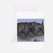 French Bulldogs with Snail Greeting Cards